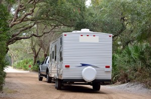 Travel trailer being towed